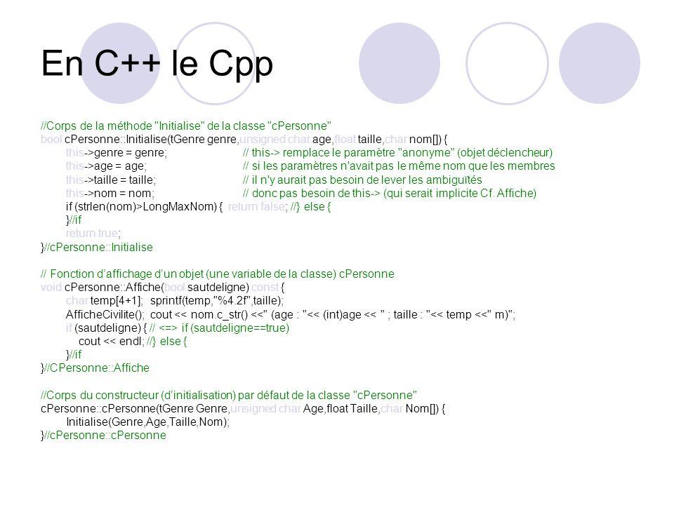 En C++ le Cpp //Corps de la méthode Initialise de la classe cPersonne