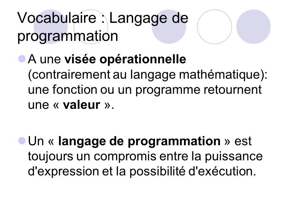 Vocabulaire : Langage de programmation