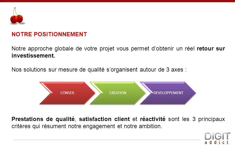 Nos solutions sur mesure de qualité s'organisent autour de 3 axes :