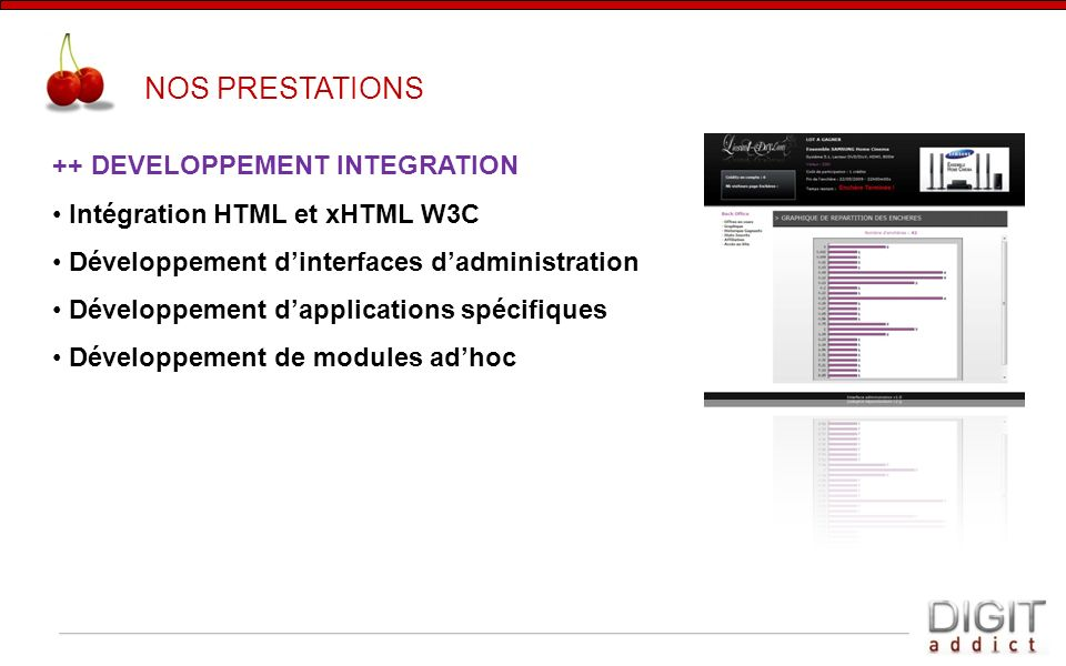 NOS PRESTATIONS ++ DEVELOPPEMENT INTEGRATION