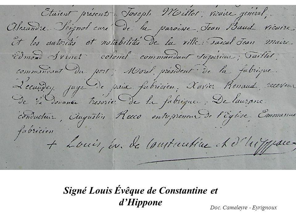 Signé Louis Évêque de Constantine et d'Hippone