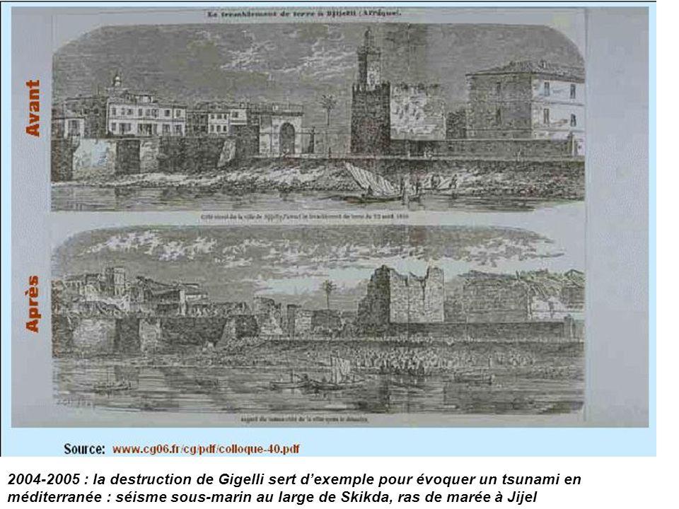 2004-2005 : la destruction de Gigelli sert d'exemple pour évoquer un tsunami en méditerranée : séisme sous-marin au large de Skikda, ras de marée à Jijel