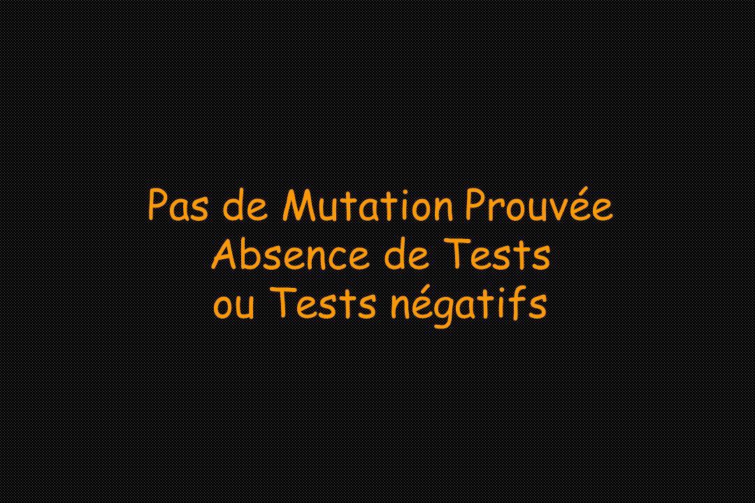 Pas de Mutation Prouvée Absence de Tests ou Tests négatifs