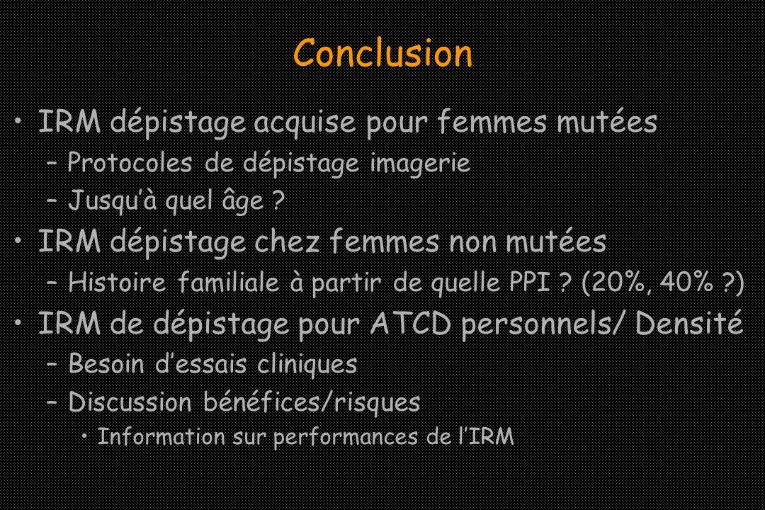 Conclusion IRM dépistage acquise pour femmes mutées