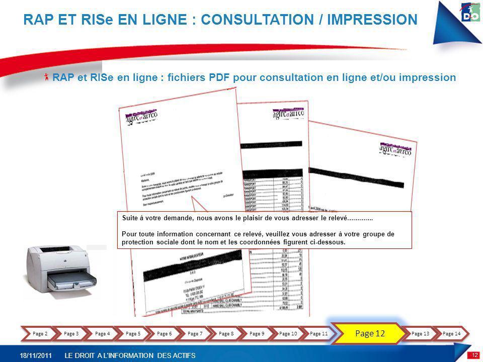 RAP et RISe EN LIGNE : CONSULTATION / IMPRESSION