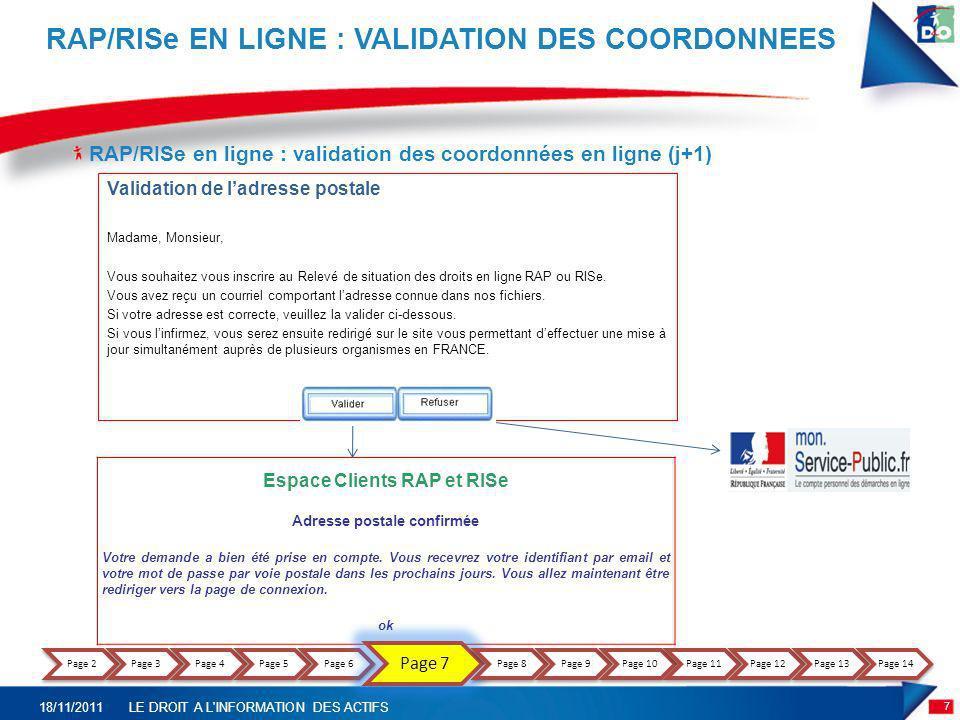 RAP/RISe EN LIGNE : VALIDATION DES COORDONNEES
