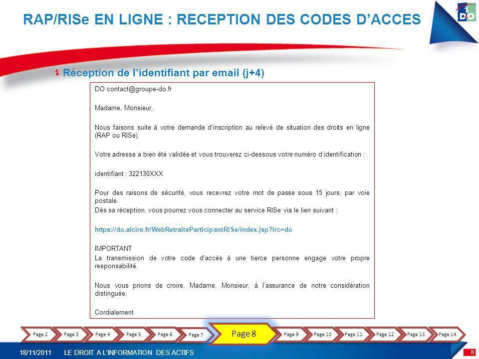 rap/RISe EN LIGNE : RECEPTION DES CODES D'ACCES