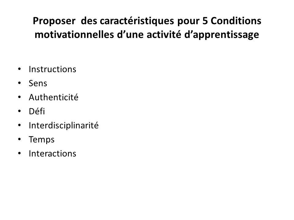 Proposer des caractéristiques pour 5 Conditions motivationnelles d'une activité d'apprentissage