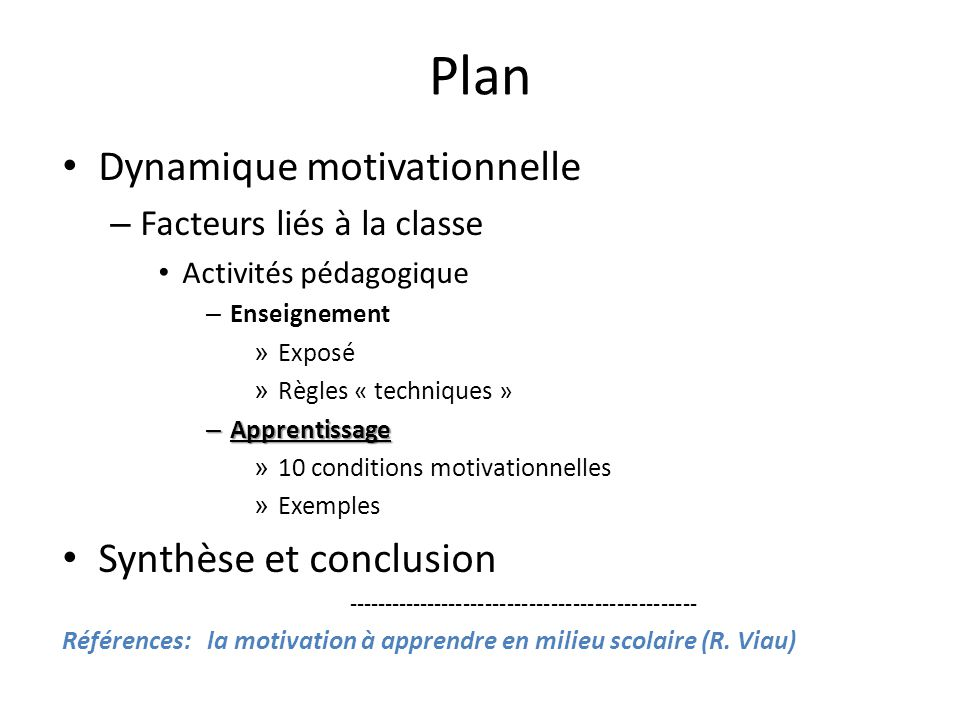 Plan Dynamique motivationnelle Synthèse et conclusion
