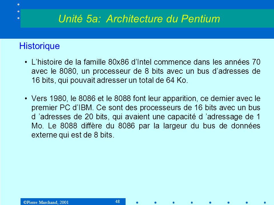 Unité 5a: Architecture du Pentium