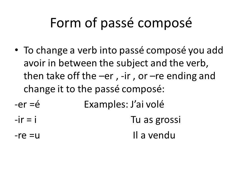 Form of passé composé