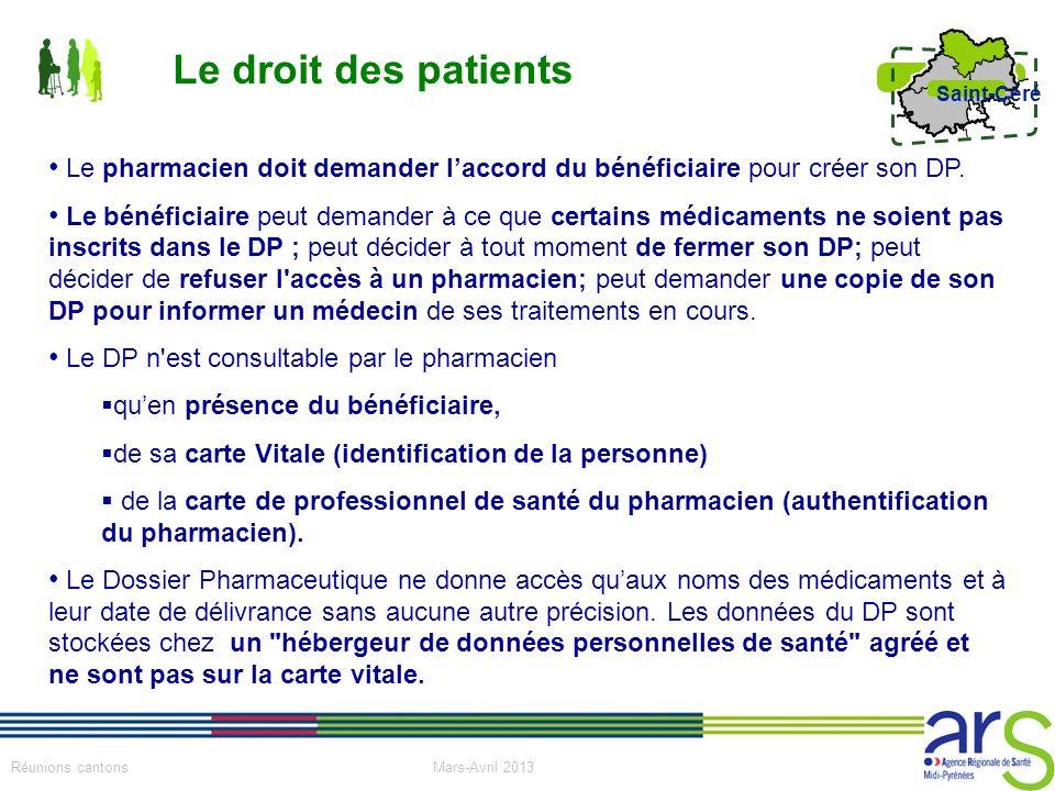 Le droit des patients Le pharmacien doit demander l'accord du bénéficiaire pour créer son DP.