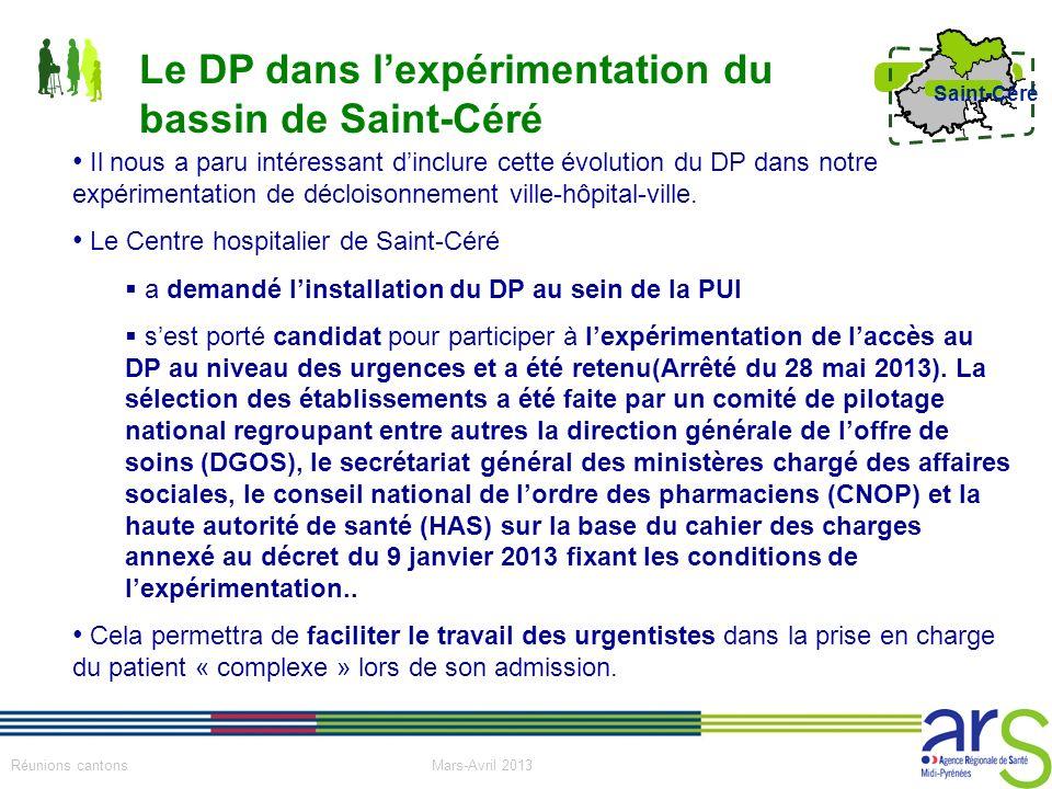 Le DP dans l'expérimentation du bassin de Saint-Céré