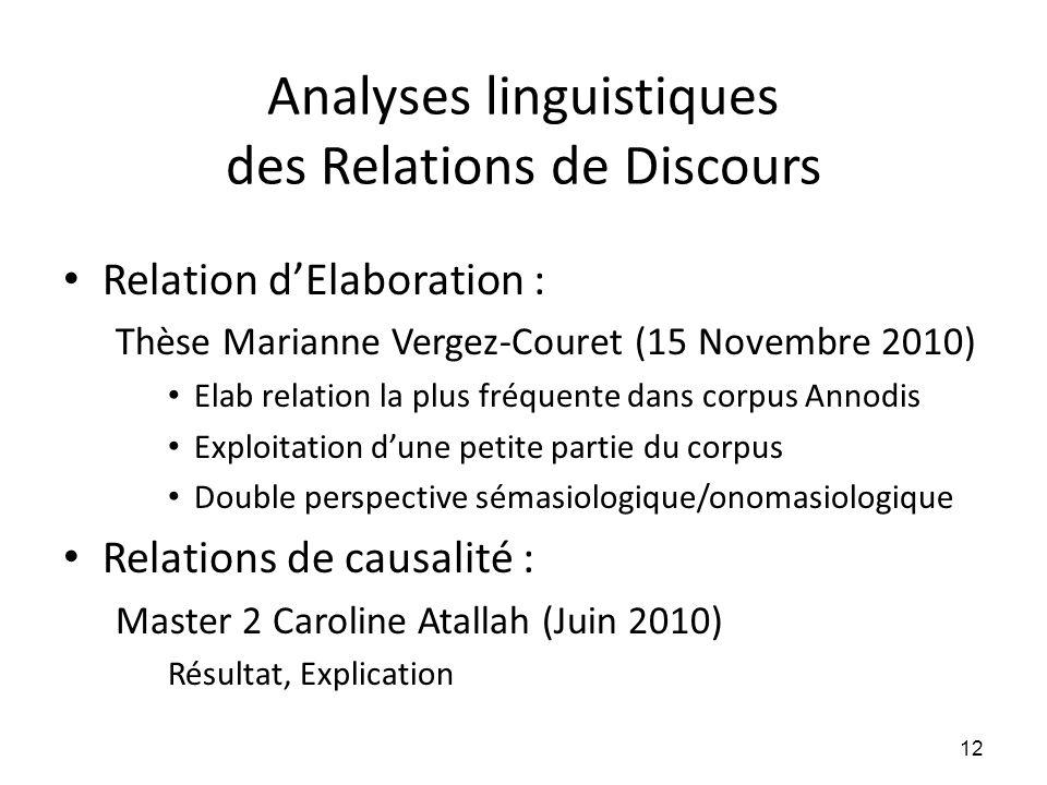 Analyses linguistiques des Relations de Discours
