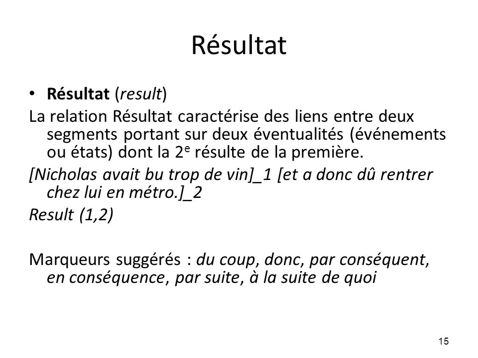 Résultat Résultat (result)