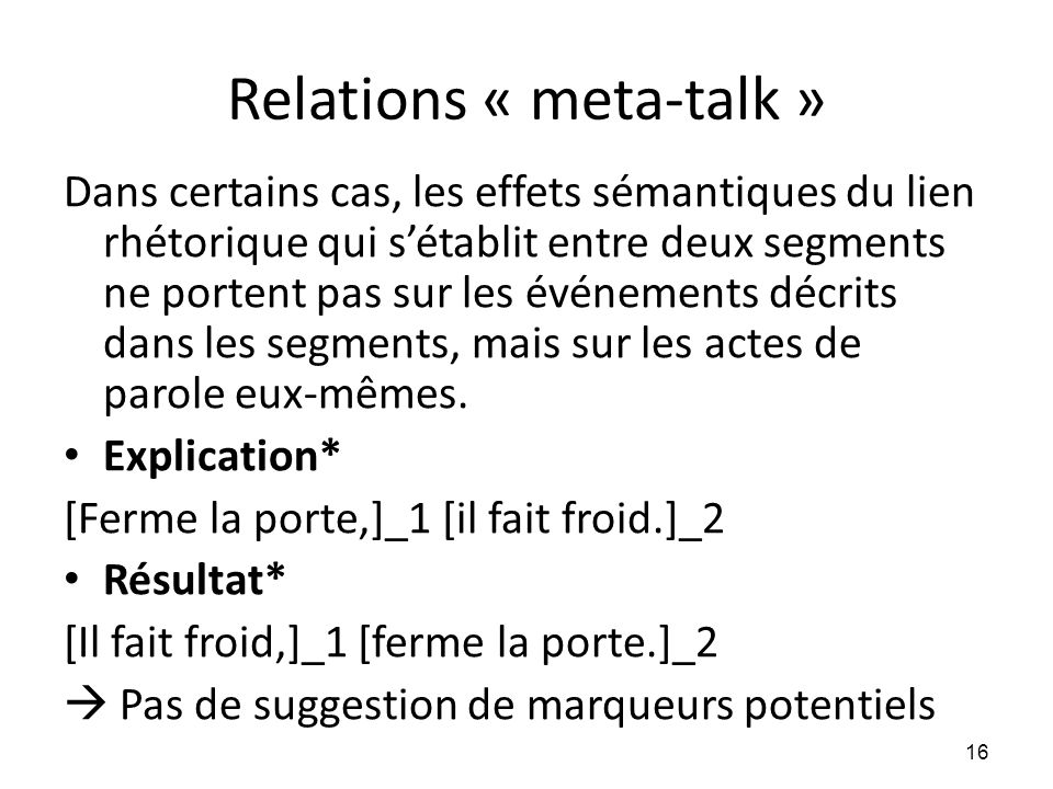 Relations « meta-talk »