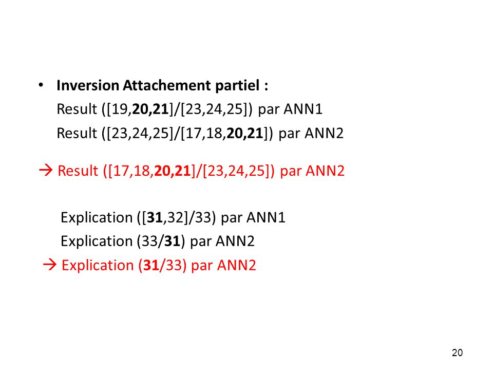 Inversion Attachement partiel :