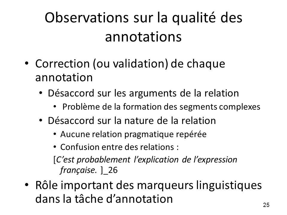 Observations sur la qualité des annotations