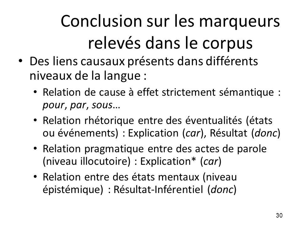 Conclusion sur les marqueurs relevés dans le corpus