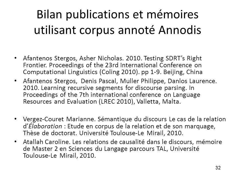 Bilan publications et mémoires utilisant corpus annoté Annodis