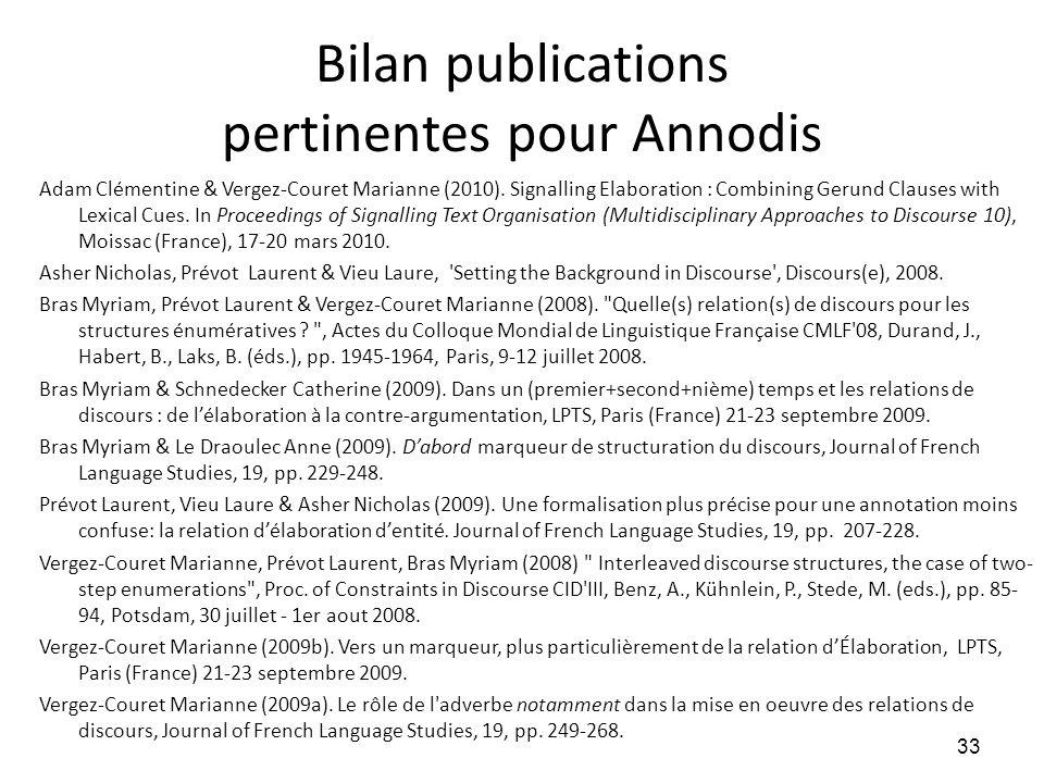 Bilan publications pertinentes pour Annodis