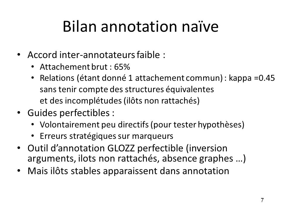 Bilan annotation naïve