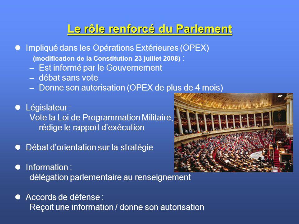 Le rôle renforcé du Parlement