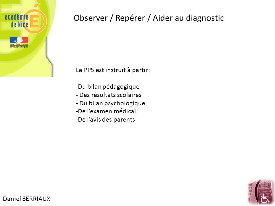 Observer / Repérer / Aider au diagnostic