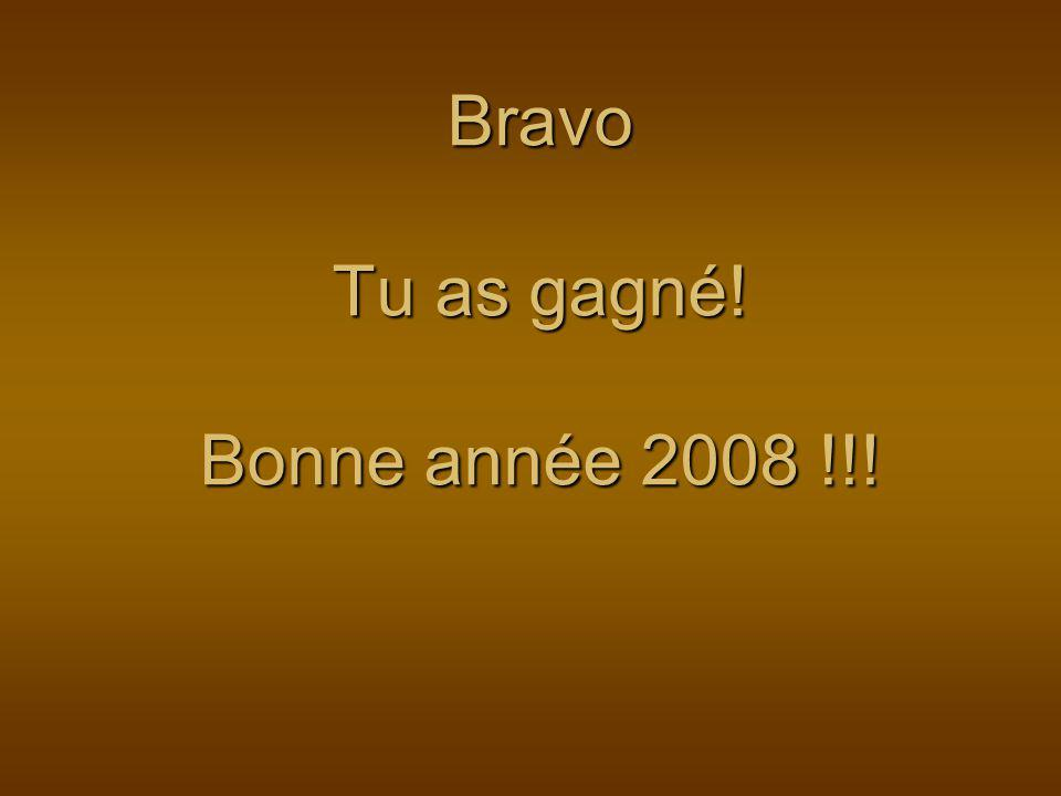 Bravo Tu as gagné! Bonne année 2008 !!!