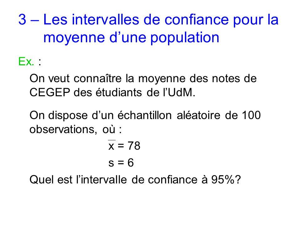 3 – Les intervalles de confiance pour la moyenne d'une population