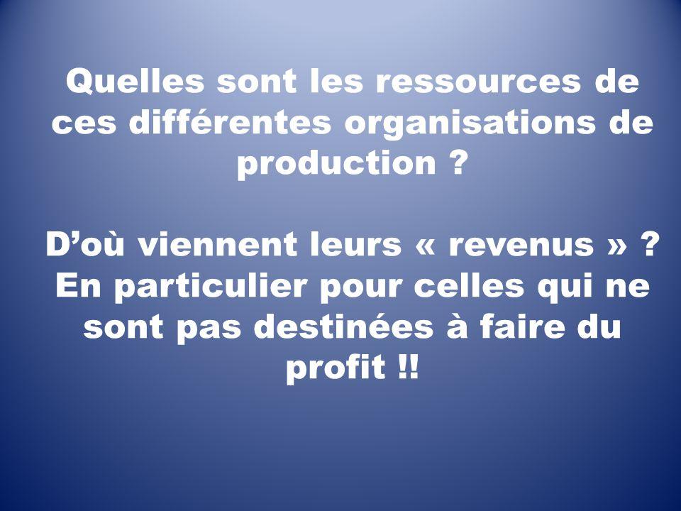Quelles sont les ressources de ces différentes organisations de production