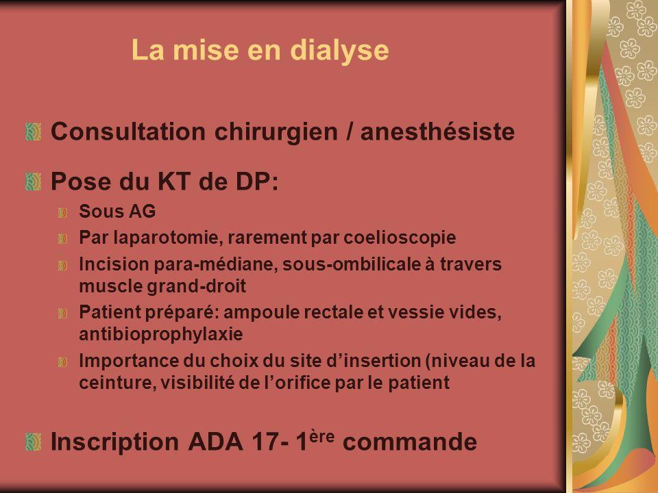 La mise en dialyse Consultation chirurgien / anesthésiste