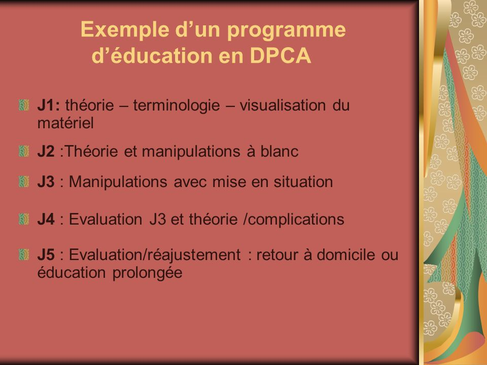 Exemple d'un programme d'éducation en DPCA