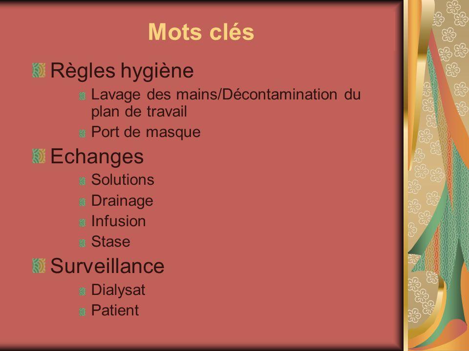 Mots clés Règles hygiène Echanges Surveillance
