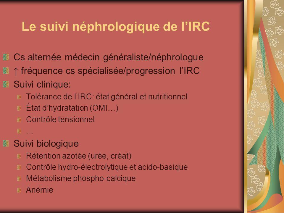 Le suivi néphrologique de l'IRC