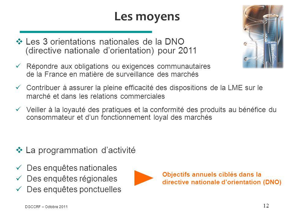 Les moyens Les 3 orientations nationales de la DNO (directive nationale d'orientation) pour 2011.