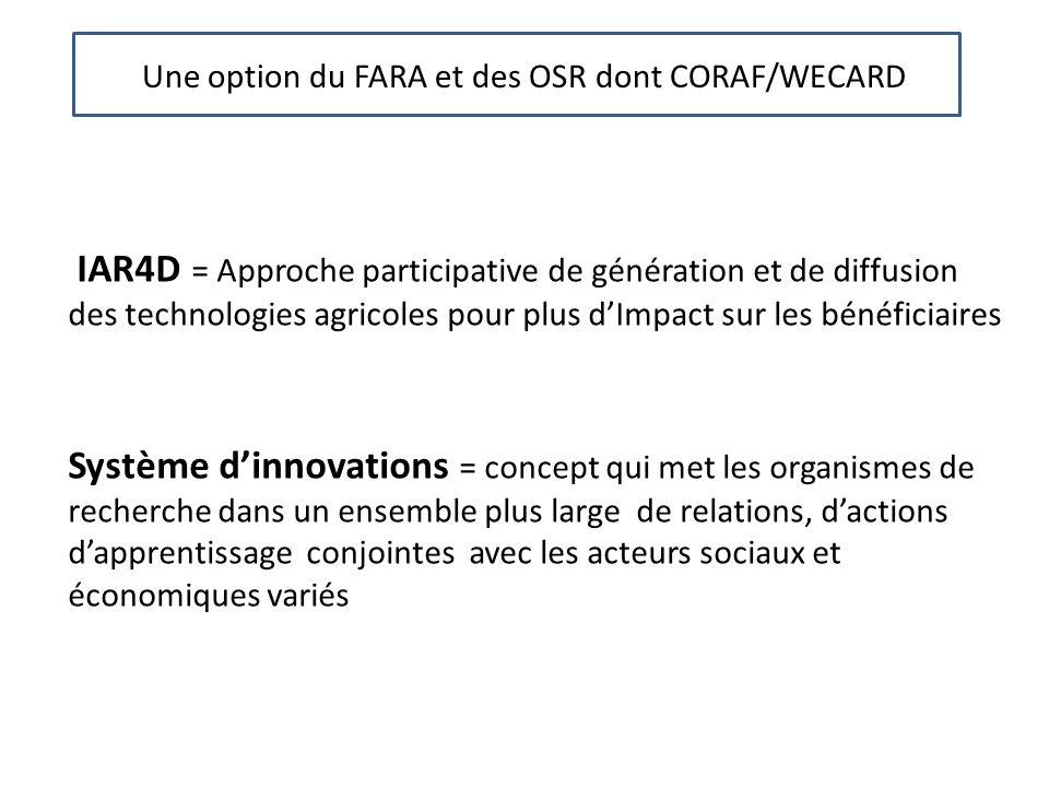 Une Une option du FARA et des OSR dont CORAF/WECARD.