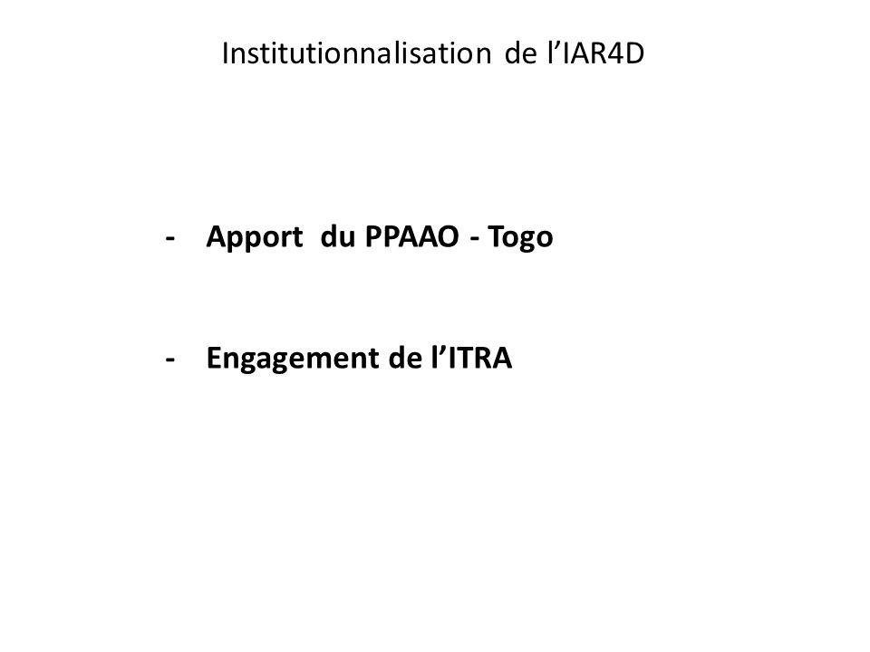 Institutionnalisation de l'IAR4D