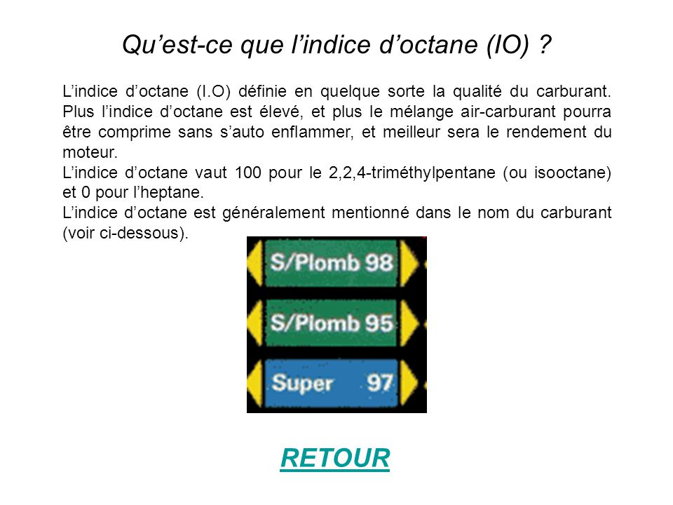Qu'est-ce que l'indice d'octane (IO)