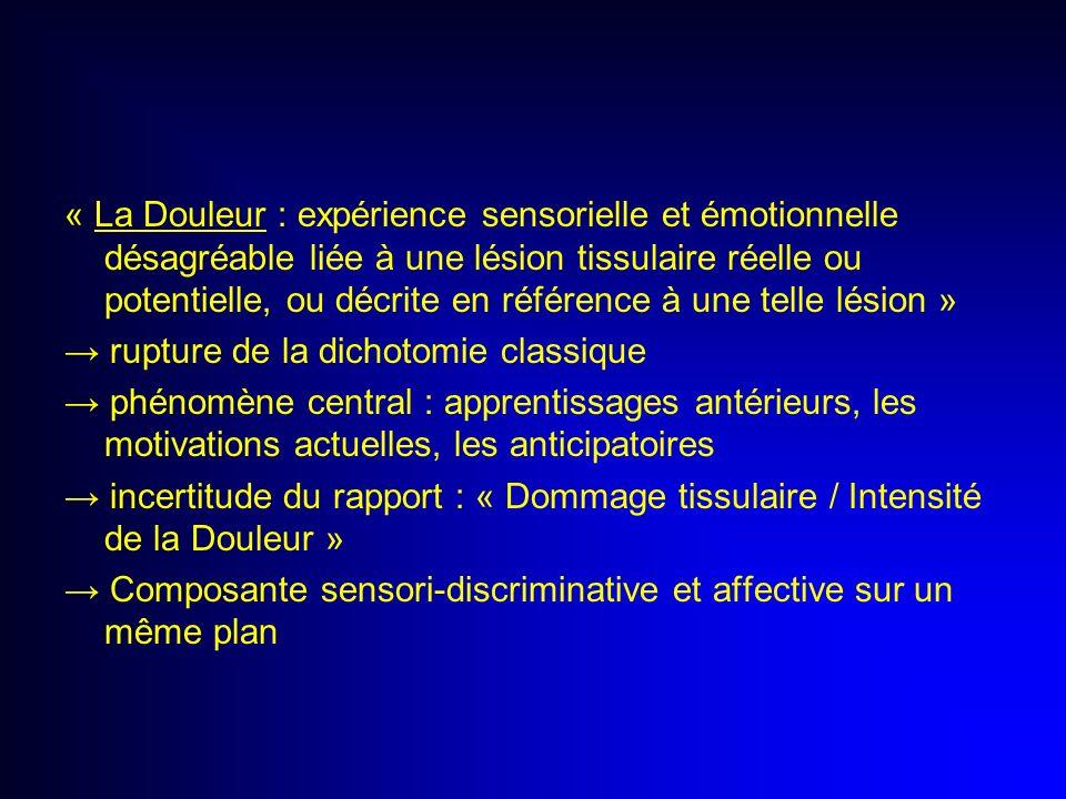 « La Douleur : expérience sensorielle et émotionnelle désagréable liée à une lésion tissulaire réelle ou potentielle, ou décrite en référence à une telle lésion »