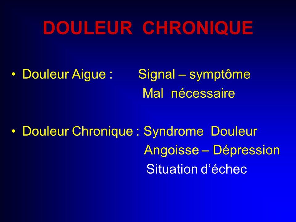 DOULEUR CHRONIQUE Douleur Aigue : Signal – symptôme Mal nécessaire