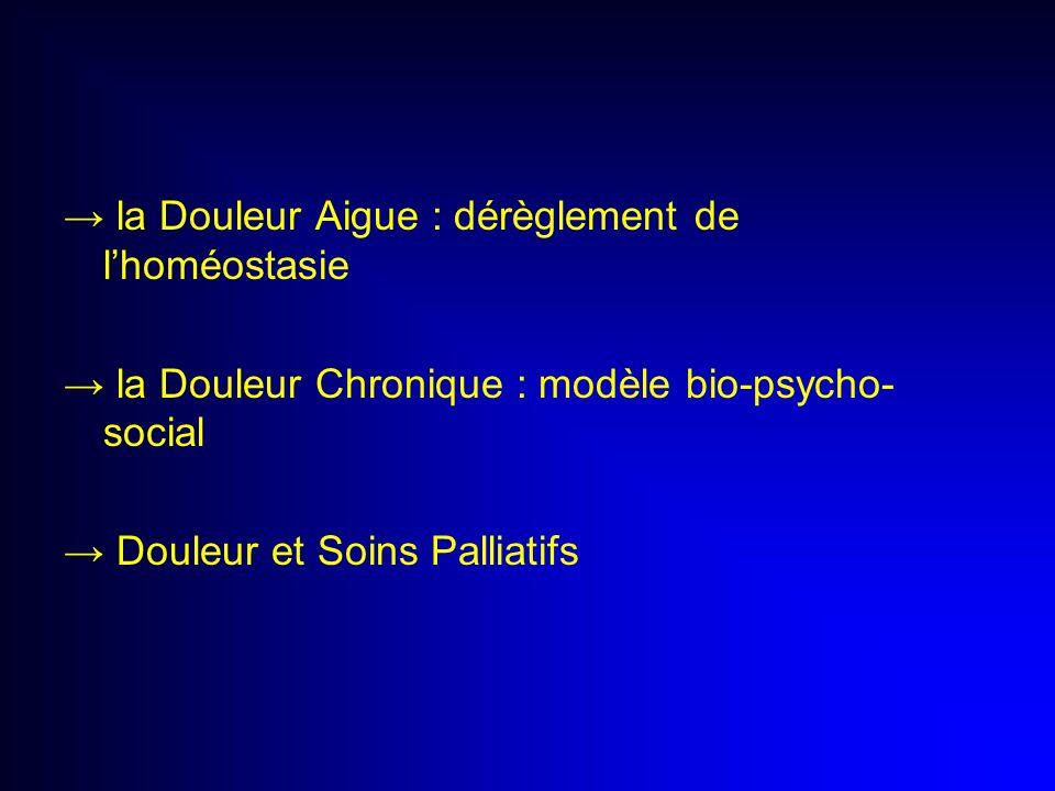 → la Douleur Aigue : dérèglement de l'homéostasie