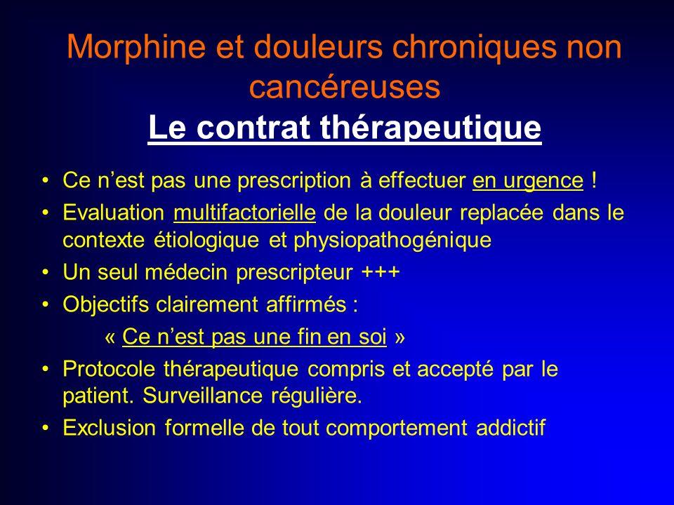 Morphine et douleurs chroniques non cancéreuses Le contrat thérapeutique