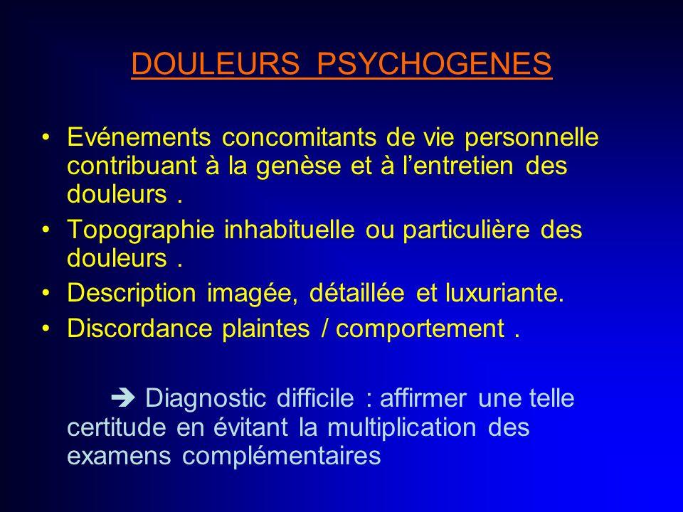 DOULEURS PSYCHOGENESEvénements concomitants de vie personnelle contribuant à la genèse et à l'entretien des douleurs .