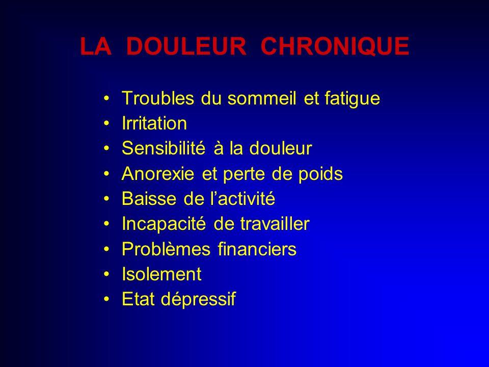 LA DOULEUR CHRONIQUE Troubles du sommeil et fatigue Irritation