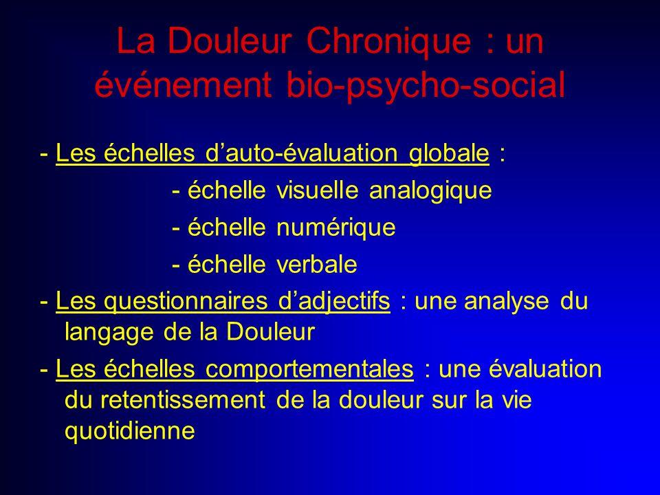 La Douleur Chronique : un événement bio-psycho-social