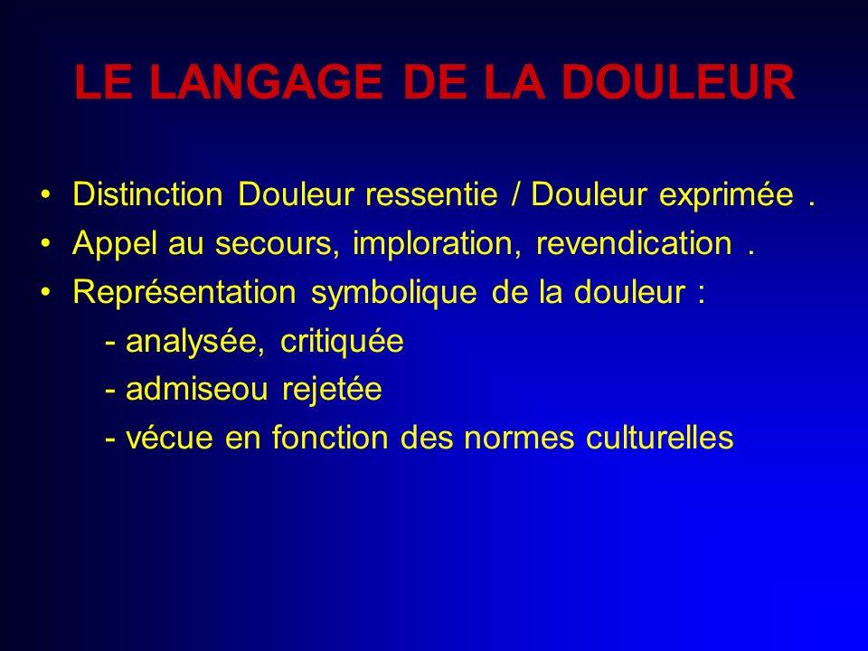 LE LANGAGE DE LA DOULEUR