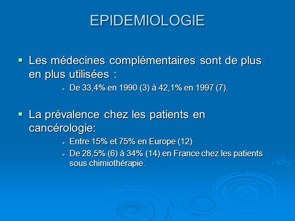 EPIDEMIOLOGIE Les médecines complémentaires sont de plus en plus utilisées : De 33,4% en 1990 (3) à 42,1% en 1997 (7).