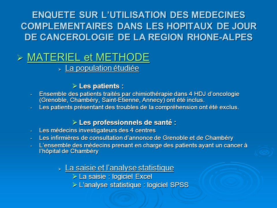 ENQUETE SUR L'UTILISATION DES MEDECINES COMPLEMENTAIRES DANS LES HOPITAUX DE JOUR DE CANCEROLOGIE DE LA REGION RHONE-ALPES