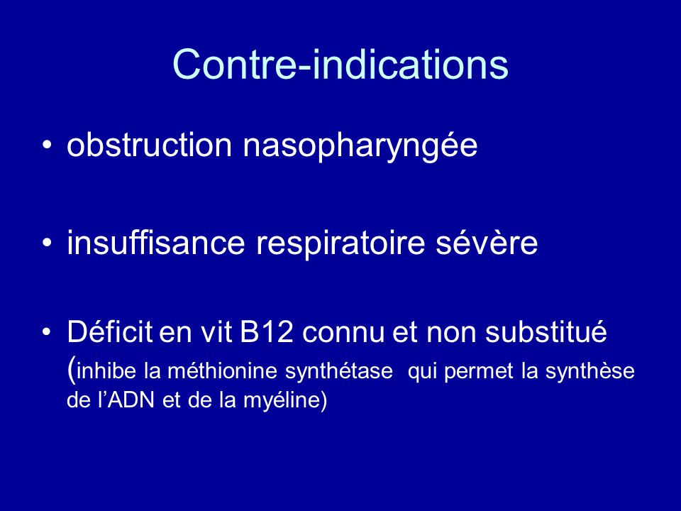 Contre-indications obstruction nasopharyngée